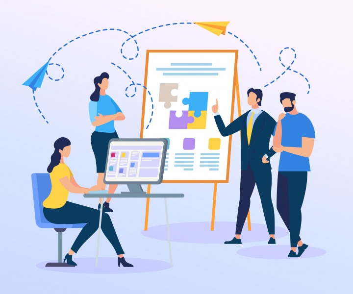 Business Trainer Presentation of Colorful Puzzle Pieces on Flip Board. People Work on Team Building. Creation of Successful Project. Men and Women Characters Working Together. Flat Vector Illustration